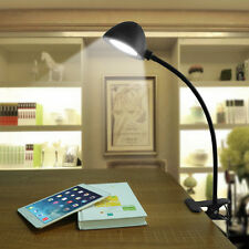 Flexible USB LED Study Reading Light Clip-on Bed Table Desk Lamp Black Durable