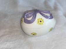 Ceramic Easter Egg Box Yellow Flowers Purple Ribbon
