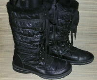 F&F WOMENS BLACK ZIP/LACEUP SYNTHETIC SNOW WINTER BOOTS SIZE:7/41(WB3365)