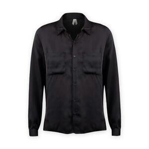 Womens Ladies Long Sleeve Lightweight Satin Black Button-Down Collared Shirt Top