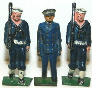Old GREY IRON 1930s Dimestore Soldiers, 3 US Sailors Marching In Blue, G63, G67
