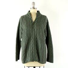 Aran Crafts Cable Knit Full Zip Merino Wool Irish Fishermand Cardigan Sweater L
