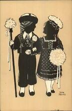 Alwin Freund - Boy & Girl as Bride & Groom - Silhouette c1910 Postcard