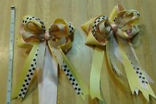 Equestrian Horse Show Hair Bows W/ French Clip Yellow, Pink, Beige and Prt