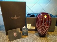 "WATERFORD 9"" RUBY RED ARAGLIN PRESTIGE VASE WITH ORIGINAL BOX AND PAPERWORK"