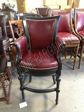 """Frontgate Chesterfield Bar 24"""" Seat Height COUNTER Stool Chair Wood Red Leather"""
