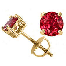 2.50 CARAT 14K SOLID SCREW BACK YELLOW GOLD ROUND SHAPE RUBY STUD EARRINGS