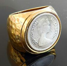 English Elizabeth Coin Pound Sterling Ring Silver 925 Gold 24K Plate Sz 8