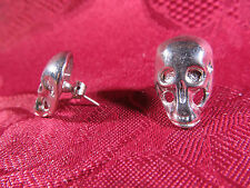 Pierced Silvertone Skull Earring Pair Posts