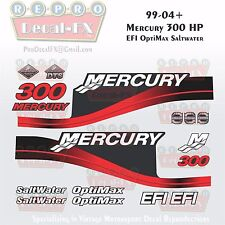 1999-04 Mercury 300HP Red Decals EFI OptiMax Saltwater 15pc Repro Outboard 2004