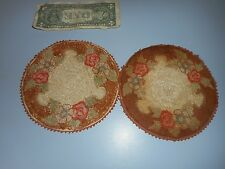 Pair of Antique Victorian Miniature Handmade Rugs. As Is