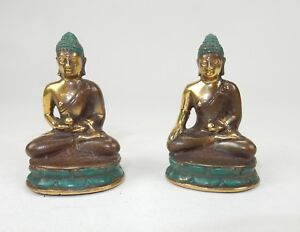 """Pair of Antique South East Asian Gilt Bronze Buddha Statues 2.5"""""""