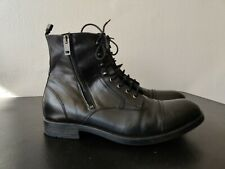 Men's Diesel Black Lace Up Side Zip Leather Ankle Boots Size 44 US 10.5