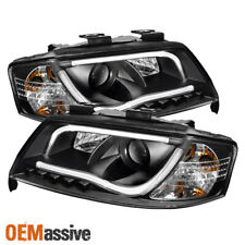 Fits 98-01 Audi A6 LED Projector Black Headlights W/Build-In DRL LED Tube Lights