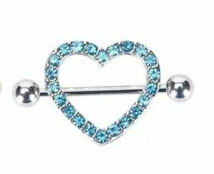 Crystal Heart Nipple Rings Silver Color Steel Anti Allergic Jewelry TK16-6