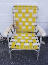 Vintage Folding Aluminum Chair  Webbed Patio Lawn Chair