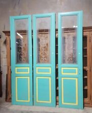 "Set of Three Salvaged Antique French Interior Doors With Etched Glass 9'6"" Tall"