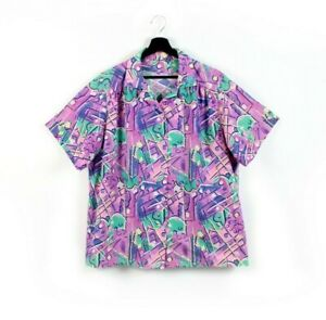 80s doodles vintage button shirt short sleeves collared hawaiian multicolor M L