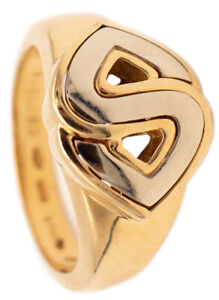 MARINA BVLGARI MILAN 18 KT GOLD SORAYA COCKTAIL RING IN TWO TONES GREAT LOOK