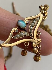 Antique Rolled Gold Necklace Opal Pearl Collana Bagno Oro Antica Opale