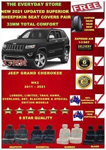 Jeep Grand Cherokee 11-21 WK/WK2 Sheepskin Car Seat Covers Pair Airbag Safe 33MM