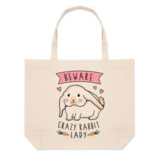 Beware Crazy Rabbit Lady Large Beach Tote Bag - Funny Shopper Shoulder