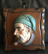 Vtg Lefton Porcelain Wall Head Wood Plaque Sailor Smoking Pipe Nautical Japan