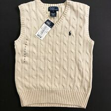 Polo RALPH LAUREN BOYS Ivory CABLE KNIT SWEATER VEST SIZE 5 NEW