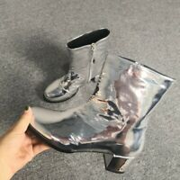 Sexy Womens Punk Patent Leather Zipper Ankle Boots Block Heel Riding Rock Shoes