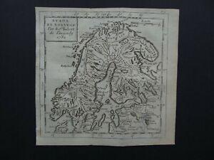 RARE 1782 Robert de VAUGONDY  map  SCANDINAVIA - Sweden Norway  Suede et Norvege