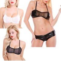 Women See Through Mesh Sheer Bra Tops Bustier Leather Crop Top Unpadded Bralette