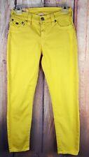 True Religion Brooklyn Mustard Yellow Gold Flap Pockets Ankle Skinny Jeans 27