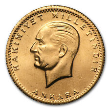 1923-1999 Turkey Gold 100 Kurush Ataturk BU (Random Year) - SKU #35792