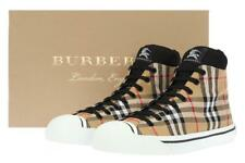 NEW BURBERRY KILBOURNE CHECK CANVAS HIGH TOP LOGO SNEAKERS SHOES 43/US 10
