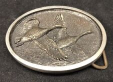 VINTAGE NATURE'S IMAGE RAISED FLYING GEESE Canada BELT BUCKLE 2.5""