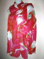 "BINDYA NEW YORK SCARF Pleated Shawl Tie Dye Watercolor Viscose Coral 82 x 28"""