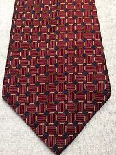 TOMMY HILFIGER MENS TIE 4 X 58 CRIMSON RED WITH GOLD GRID