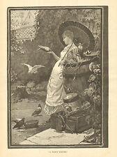Pigeons, Victorian Lady, Parasol, In Her Garden Vintage, 1887 Antique Art Print.
