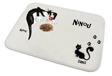 Tapis pour chat repas et propreté  personnalisé texte au choix réf 15