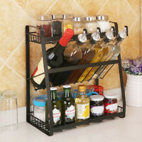 New 3-Tier Storage Organizer Spice Jars Bottle Iron Shelf Holder Rack Kitchen US