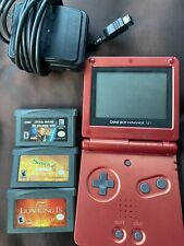 Nintendo Game Boy Advance SP 001- Flame Red With 3games