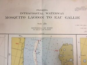 US Coast & Geodetic Survey Chart Intracoastal Waterway Florida Mosquito 1954