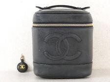rk5081 Auth CHANEL Black Caviar Skin CC Charm Cosmetic Vanity Hand Bag