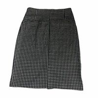 New York & Company Stretch Black White Houndstooth Pencil Knit Skirt Size 2