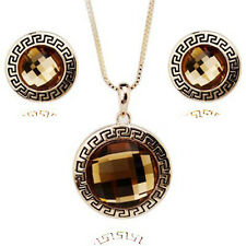 ITALINA 18K GOLD PLATED & GENUINE CUBIC ZIRCONIA BRONZE NECKLACE & EARRING SET