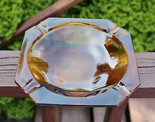 Vintage Amber Square Glass Cigarette Ashtray
