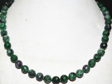 """New Beautiful 8mm Red Green Ruby Zoisite Round Gemstone Necklace 18 """"AAA"""