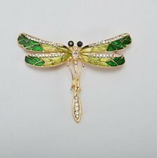 gold tone elegant beautiful Gift Ad Dragonfly pin brooch with rhinestones green
