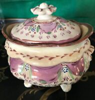 ANTIQUE c1800 British PINK LUSTER SOFT PASTE Lidded Footed Porcelain Sugar Bowl