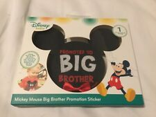 "Mickey Mouse Ears Milestone Sticker ""Promoted To Big Brother� Disney red bow"